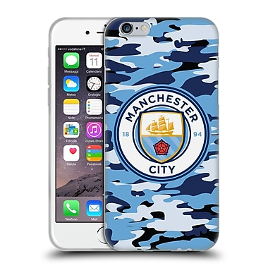 Official Manchester City Man City Fc Badge Camou Blue Moon Soft Gel Case For Apple Iphone 6 / 6S