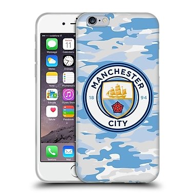 Official Manchester City Man City Fc Badge Camou Light Blue Moon Soft Gel Case For Apple Iphone 6 / 6S
