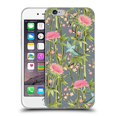 Official Micklyn Le Feuvre Patterns 3 Bamboo Birds And Blossoms On Grey Soft Gel Case For Apple Iphone 6 / 6S