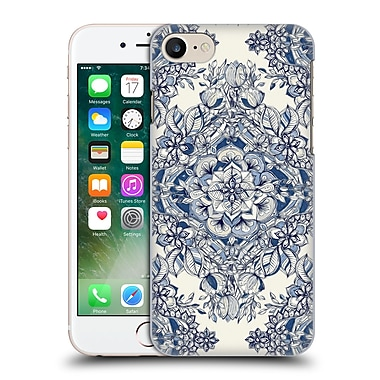 Official Micklyn Le Feuvre Floral Patterns Diamond Doodle In Navy Blue And Cream Hard Back Case For Apple Iphone 7