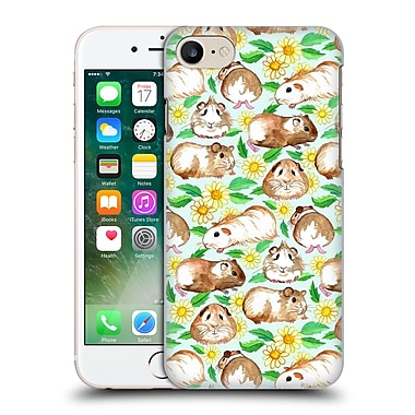 Official Micklyn Le Feuvre Patterns 2 Guinea Pigs And Daisies In Watercolour On Mint Hard Back Case For Apple Iphone 7