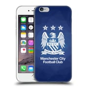 Official Manchester City Man City Fc Crest Geometric Obsidian Full White Soft Gel Case For Apple Iphone 6 / 6S