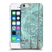 Official Micklyn Le Feuvre On Wood Teal And Aqua Botanical Doodle On Weathered Hard Back Case For Apple Iphone 5 / 5S / Se