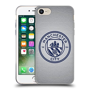 Official Manchester City Man City Fc Badge Pixels Tile Obsidian Mono Soft Gel Case For Apple Iphone 7