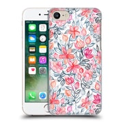 Official Micklyn Le Feuvre Floral Patterns 2 Coral And Grey Candy Striped Crayon Hard Back Case For Apple Iphone 7