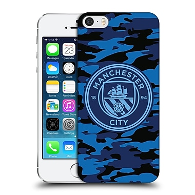Official Manchester City Man City Fc Badge Camou Dark Blue Moon Mono Hard Back Case For Apple Iphone 5 / 5S / Se