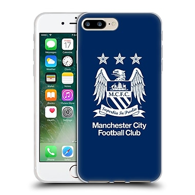 Official Manchester City Man City Fc Crest Full White On Obsidian Blue Soft Gel Case For Apple Iphone 7 Plus