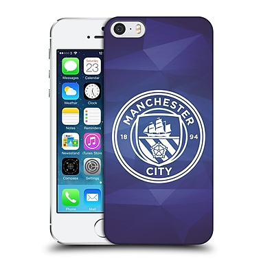 Official Manchester City Man City Fc Badge Geometric Obsidian White Mono Hard Back Case For Apple Iphone 5 / 5S / Se