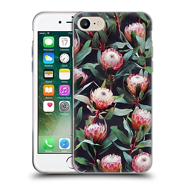 Official Micklyn Le Feuvre Florals 2 Evening Proteas Pink On Charcoal Soft Gel Case For Apple Iphone 7