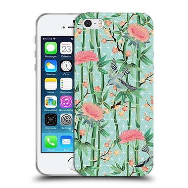Official Micklyn Le Feuvre Patterns 3 Bamboo Birds And Blossoms On Soft Blue Green Soft Gel Case For Apple Iphone 5 / 5S / Se