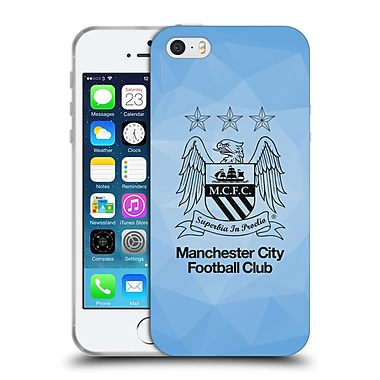 Official Manchester City Man City Fc Crest Geometric Sky Geo Outline Black Soft Gel Case For Apple Iphone 5 / 5S / Se