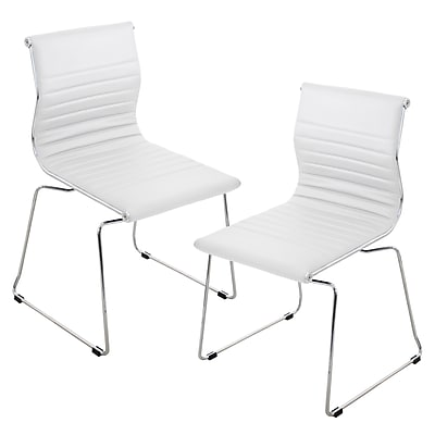 Lumisource Master Stackable Dining Chair in White & Chrome, Set of 2 (CH-MSTR W K2)