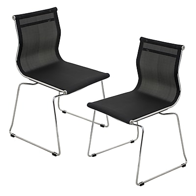 Lumisource Mirage Stackable Dining Chair in Black & Chrome, Set of 2 (CH-MIRAGE BK2)