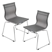 Lumisource Mirage Stackable Dining Chair in Silver & Chrome, Set of 2 (CH-MIRAGE SV2)