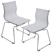 Lumisource Mirage Stackable Dining Chair in White & Chrome, Set of 2 (CH-MIRAGE W2)