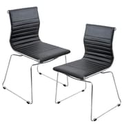 Lumisource Master Stackable Dining Chair in Black & Chrome, Set of 2 (CH-MSTR BK K2)