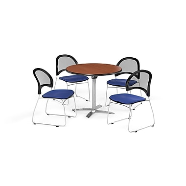 OFM 42 Inch Round Flip Top Cherry Table and Four Royal Blue Chairs (PKG-BRK-171-0010)