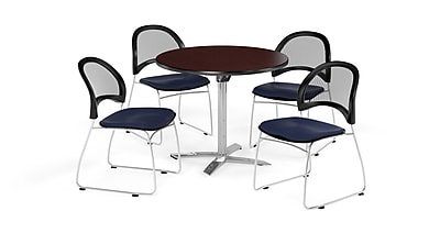 OFM 42 Inch Round Flip Top Mahogany Table and Four Navy Chairs (PKG-BRK-171-0035)