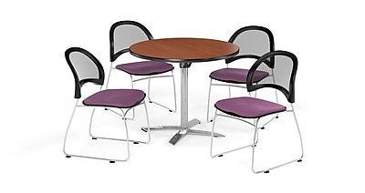 OFM 42 Inch Round Flip Top Cherry Table and Four Plum Chairs (PKG-BRK-171-0013)