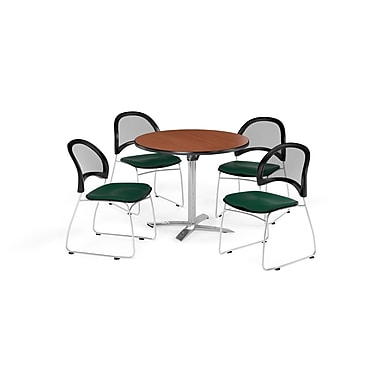 OFM 42 Inch Round Flip Top Cherry Table and Four Forest Green Chairs (PKG-BRK-171-0015)