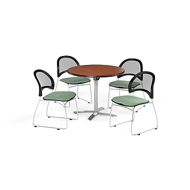 OFM 42 Inch Round Flip Top Cherry Table and Four Sage Green Chairs (PKG-BRK-171-0007)