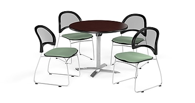 OFM 42 Inch Round Flip Top Mahogany Table and Four Sage Green Chairs (PKG-BRK-171-0039)