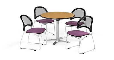 OFM 42 Inch Round Flip Top Oak Table and Four Plum Chairs (PKG-BRK-171-0061)