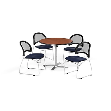 OFM 42 Inch Round Flip Top Cherry Table and Four Navy Chairs (PKG-BRK-171-0003)