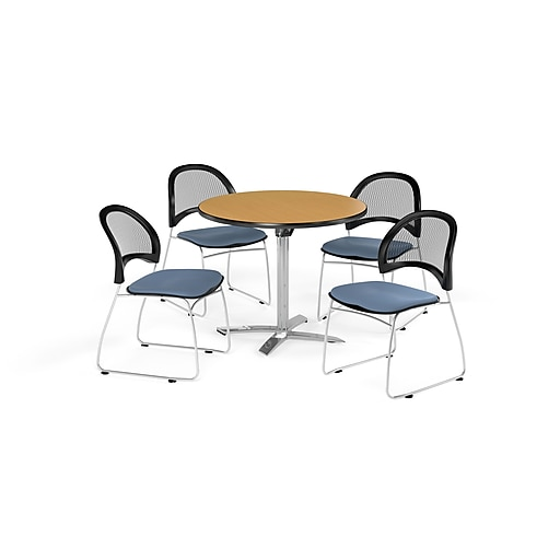 OFM 42 Inch Round Flip Top Oak Table and Four Cornflower Blue Chairs (PKG-BRK-171-0054)