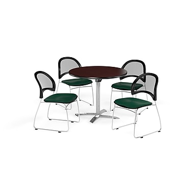 OFM 42 Inch Round Flip Top Mahogany Table and Four Forest Green Chairs (PKG-BRK-171-0047)