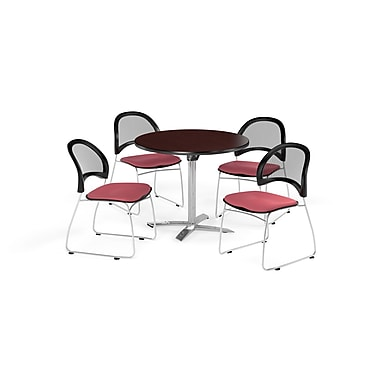 OFM 42 Inch Round Flip Top Mahogany Table and Four Coral Pink Chairs (PKG-BRK-171-0040)