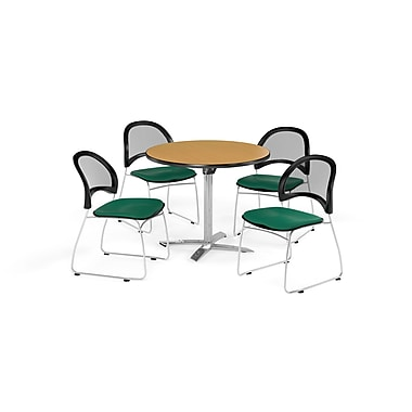 OFM 42 Inch Round Flip Top Oak Table and Four Shamrock Green Chairs (PKG-BRK-171-0049)
