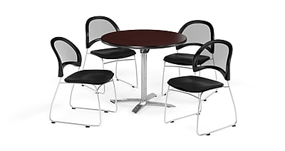 OFM 42 Inch Round Flip Top Mahogany Table and Four Black Chairs (PKG-BRK-171-0048)