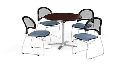 OFM 42 Inch Round Flip Top Mahogany Table and Four Cornflower Blue Chairs (PKG-BRK-171-0038)