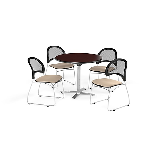 OFM 42 Inch Round Flip Top Mahogany Table and Four Khaki Chairs (PKG-BRK-171-0041)