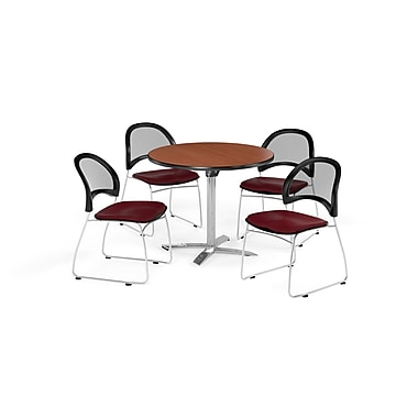 OFM 42 Inch Round Flip Top Cherry Table and Four Burgundy Chairs (PKG-BRK-171-0011)