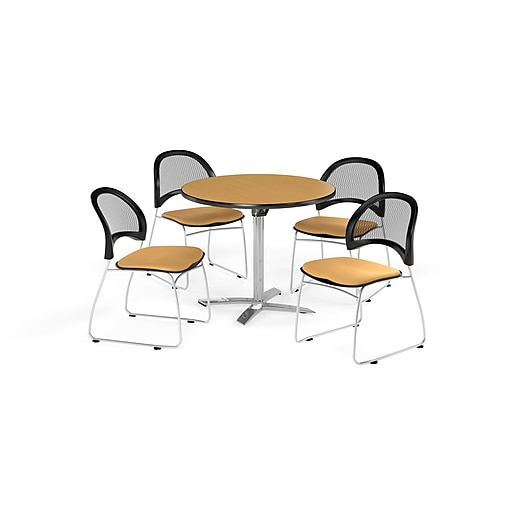 OFM 42 Inch Round Flip Top Oak Table and Four Golden Flax Chairs (PKG-BRK-171-0053)