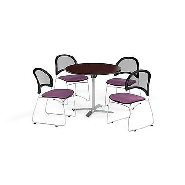 OFM 42 Inch Round Flip Top Mahogany Table and Four Plum Chairs (PKG-BRK-171-0045)