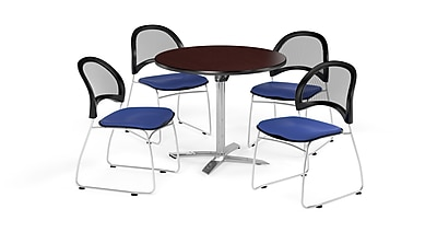 OFM 42 Inch Round Flip Top Mahogany Table and Four Royal Blue Chairs (PKG-BRK-171-0042)