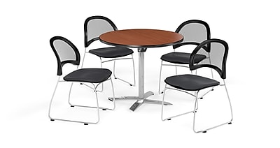 OFM 42 Inch Round Flip Top Cherry Table and Four Slate Gray Chairs (PKG-BRK-171-0012)