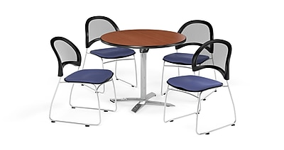 OFM 42 Inch Round Flip Top Cherry Table and Four Colonial Blue Chairs (PKG-BRK-171-0004)