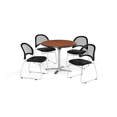 OFM 42 Inch Round Flip Top Cherry Table and Four Black Chairs (PKG-BRK-171-0016)