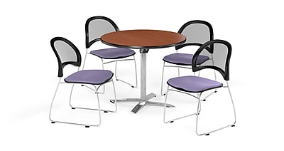 OFM 42 Inch Round Flip Top Cherry Table and Four Lavender Chairs (PKG-BRK-171-0002)