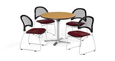 OFM 42 Inch Round Flip Top Oak Table and Four Burgundy Chairs (PKG-BRK-171-0059)
