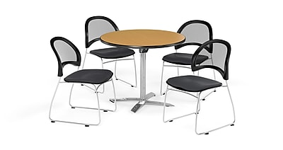 OFM 42 Inch Round Flip Top Oak Table and Four Slate Gray Chairs (PKG-BRK-171-0060)