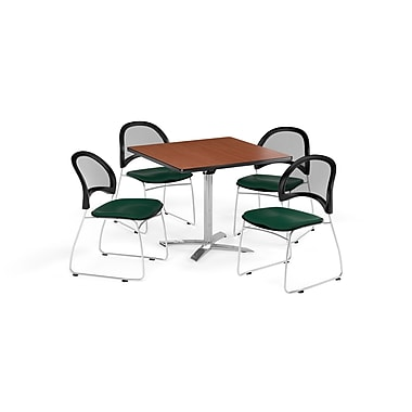 OFM 42 Inch Square Flip Top Cherry Table and Four Forest Green Chairs (PKG-BRK-172-0015)