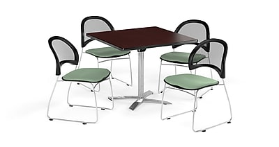 OFM 42 Inch Square Flip Top Mahogany Table and Four Sage Green Chairs (PKG-BRK-172-0039)