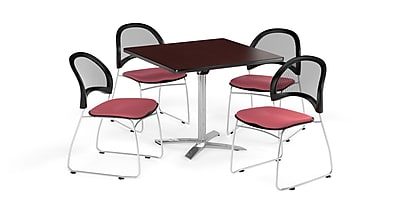 OFM 42 Inch Square Flip Top Mahogany Table and Four Coral Pink Chairs (PKG-BRK-172-0040)