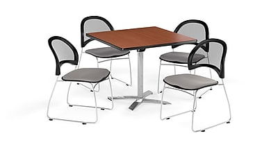 OFM 42 Inch Square Flip Top Cherry Table and Four Putty Chairs (PKG-BRK-172-0014)