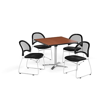 OFM 42 Inch Square Flip Top Cherry Table and Four Black Chairs (PKG-BRK-172-0016)